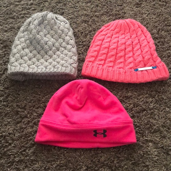 448bfb39f15589 Accessories | 3 Womens Toboggans The Two Pink Are Under Armour ...